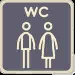 Icone homme et femme avec lettres WC.