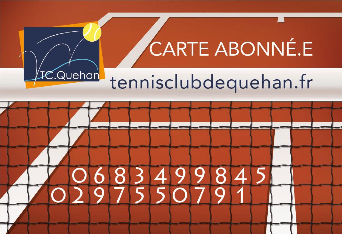 Carte d'abonnement avec filet de tennis et logo du Tennis Club de Quehan.