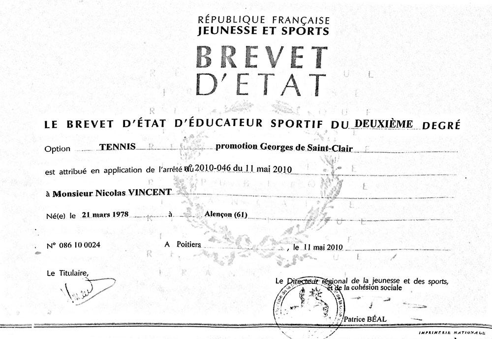 Brevet d'état promotion Georges de Saint-Clair.