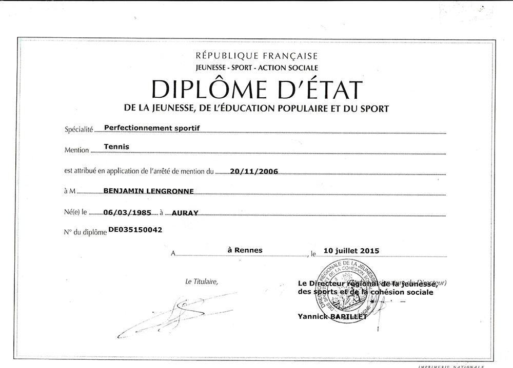 Copie du diplôme d'état mention tennis de Benjamin Lengronne.