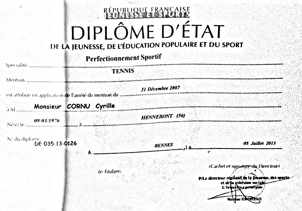 Diplôme d'état de tennis de Cyrille Cornu.
