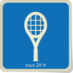 Icone raquette et inscription sous 24h.