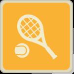 Icone raquette et balle de tennis sur fond jaune.