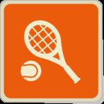 Icone balle de tennis et raquette sur fond orange.
