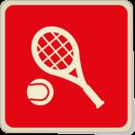 Icone raquette et balle de tennis sur fond rouge.