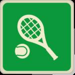 Icone balle de tennis et raquette sur fond vert.