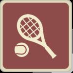 Icone raquette et balle de tennis sur fond terre battue.