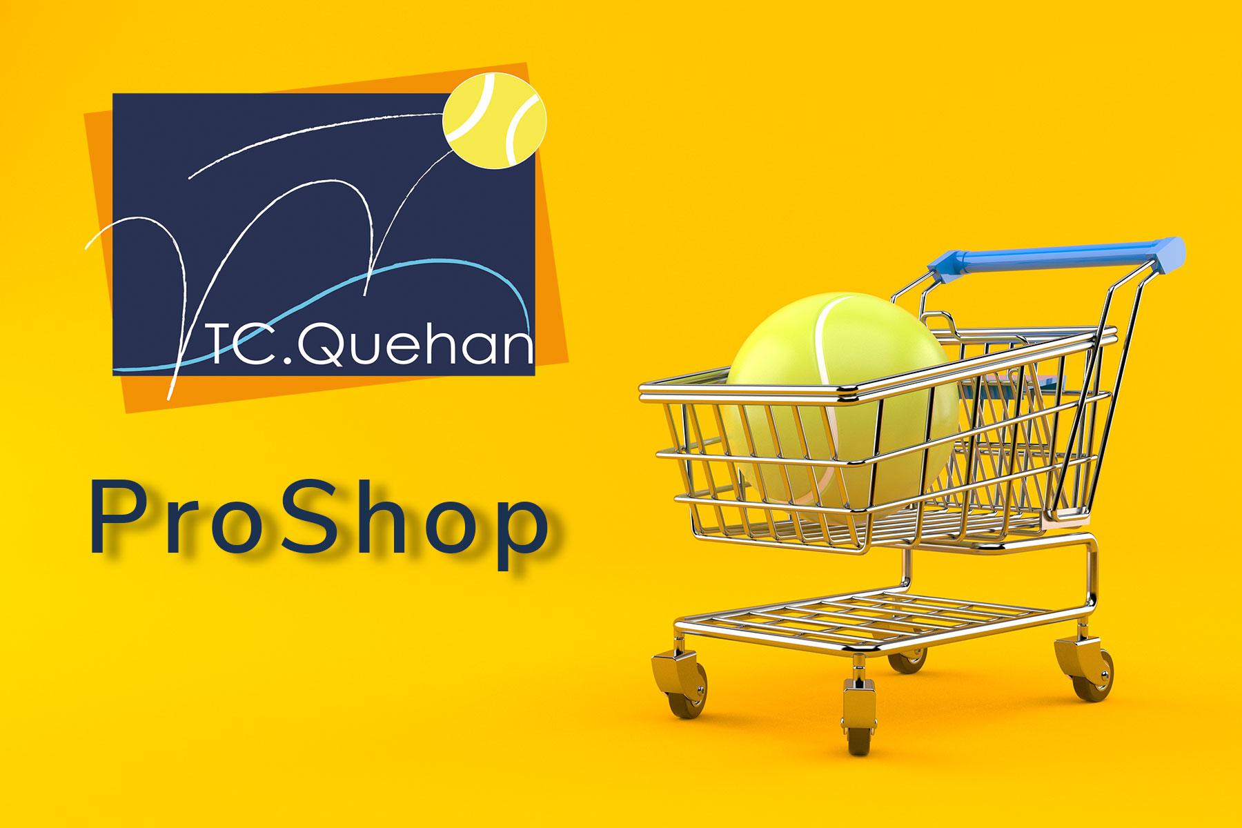 Balle de tennis dans caddy et logo du Tennis Club de Quehan.