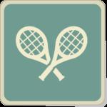 Icone de deux raquettes de tennis sur fond vert.