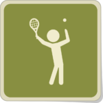 Icone joueur de tennis au service.